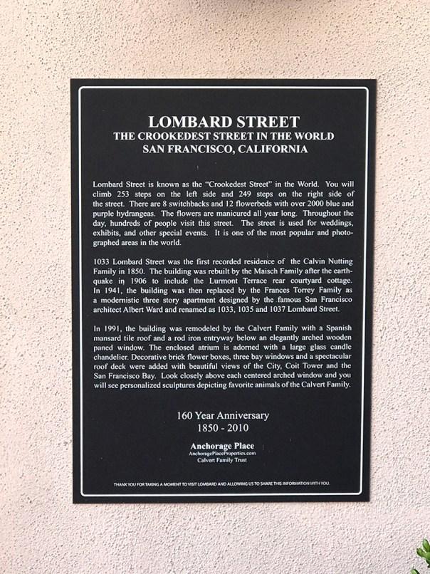 Lombard Street History Sign