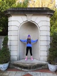 Natalie Bourn Posing on the Lyon Street Steps Landing