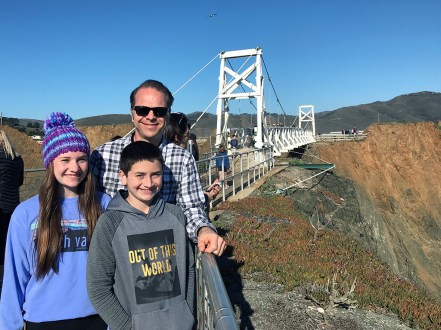 Natalie, Brian, and Carter Bourn at the Point Bonita Bridge