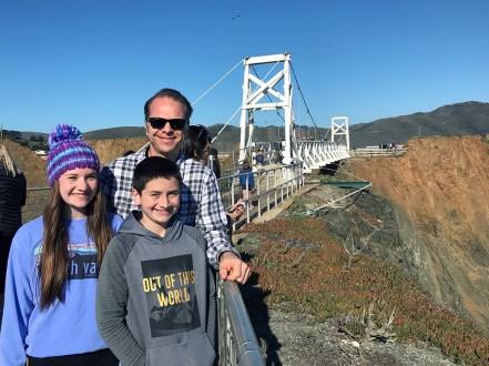 Natalie, Brian, and Carter Bourn at the Point Bonita Bridge