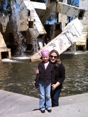 Jennifer Bourn and Natalie Bourn at the Vaillancourt Fountain in San Francisco in 2010