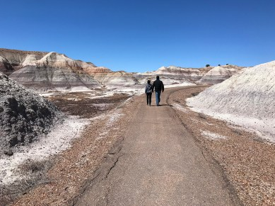 Brian and Carter Bourn walking the Blue Mesa Trail