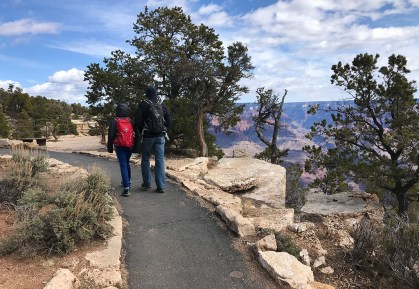 Carter and Brian Bourn Walking the Canyon Rim Trail to Trailview Overlook in Grand Canyon National Park