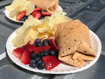 Chicken Salad Wraps and Mixed Berries and Chips