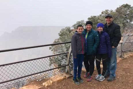 Bourn Family On The South Rim Of Grand Canyon National Park In The Snow