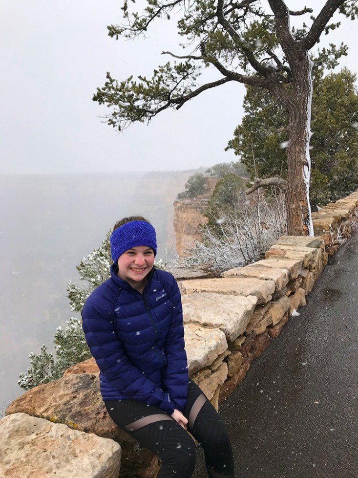 Natalie Bourn in the Grand Canyon Snow