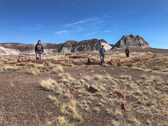 Natalie, Brian, and Carter Bourn Hiking The Long Logs Trail at Petrified Forest