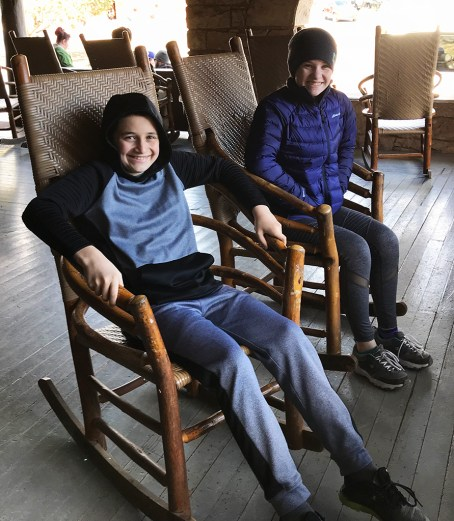 Natalie and Carter Bourn Sitting on the El Tovar Rocking Chairs