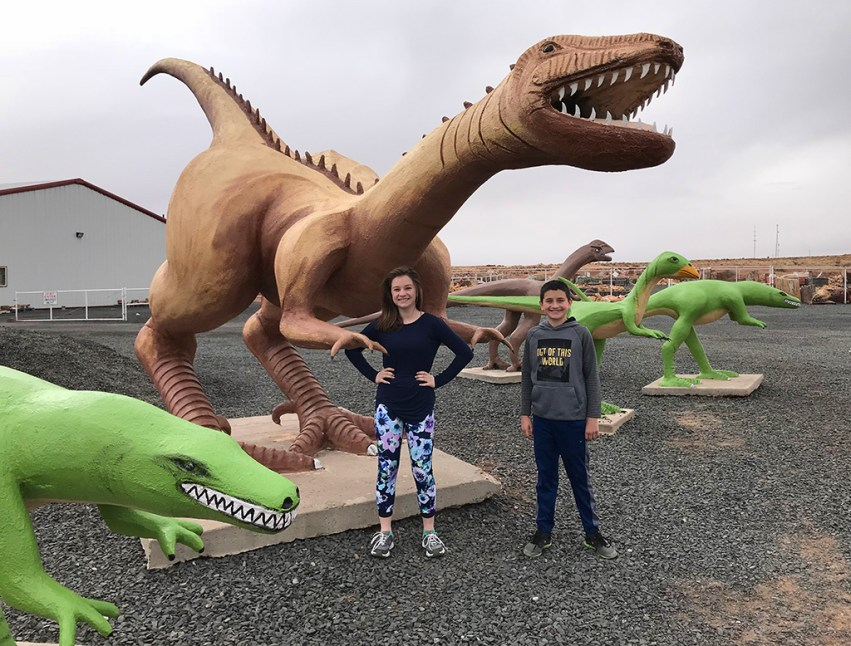 Natalie and Carter Bourn Checking Out The Holbrook, Arizona Dinosaurs