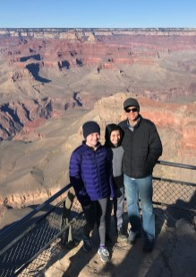 Brian, Carter, and Natalie Bourn at Yavapai Point Overlook