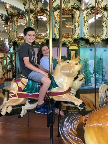 Natalie and Carter Bourn Riding The Carousel