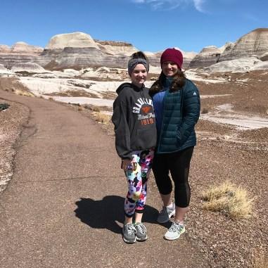 Natalie and Jennifer Bourn on the Blue Mesa Trail in Arizona