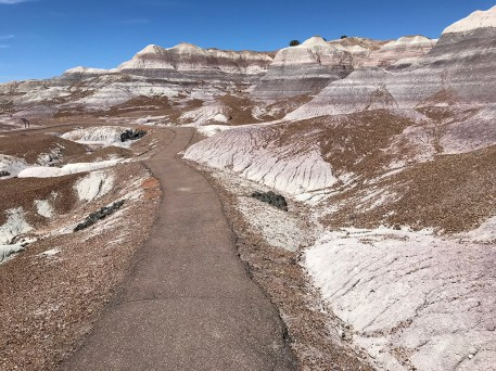 The Blue Mesa Trail in the Painted Desert Badlands at Petrified Forest National Park