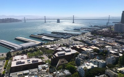 View of Bay Bridge From Coit Tower Lookout