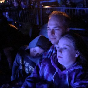 Brian Bourn Snuggling The Kids and Carter Sleeping During The Dead & Company Encore