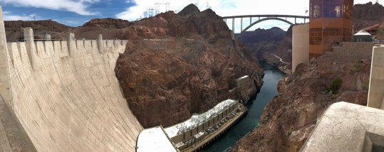 View of Colorado River under the Mike O'Callaghan-Pat Tillman Memorial Bridge From Hoover Dam