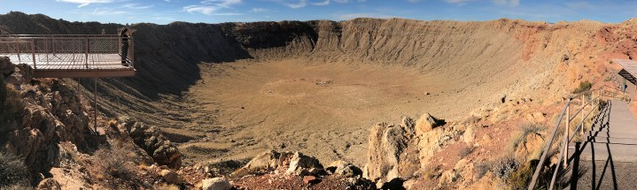 Meteor Crater is nearly one mile across, 2.4 miles in circumference and more than 550 feet deep.