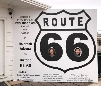 Natalie and Carter Bourn at the Route 66 Peekaboo Sign