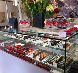 Swiss Chocolate And Confections Counter at Sweet55 in Half Moon Bay
