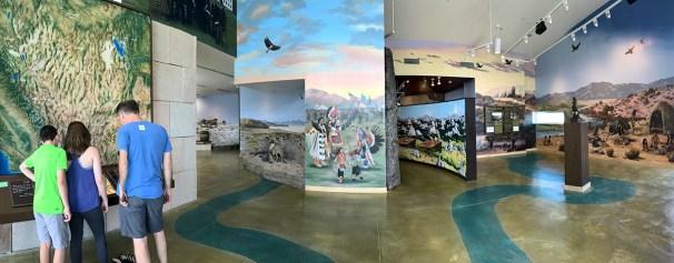 Murals and displays at the California Trail Interpretive Center