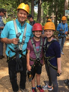 Grandpa Steve With Natalie and Carter Bourn at The Tahoe Treetop Adventure Park