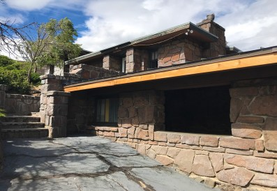 Old, Closed Visitor Center at the Ginko Petrified Forest Trailhead