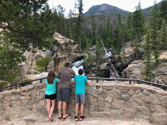 Natalie, Brian, and Carter Bourn Looking at Adams Falls