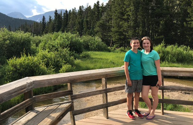 Natalie and Carter Bourn at the end of the Beaver Ponds Boardwalk