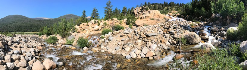 Panorama of the Alluvial Fan Waterfall in Horseshoe Park