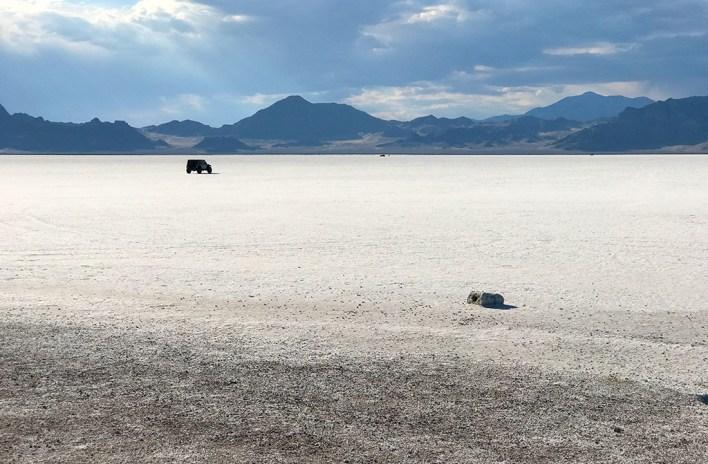 Driving on the Bonneville Salt Flats