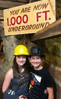 Natalie and Carter Bourn 1000 feet down inside the Mollie Kathleen Gold Mine