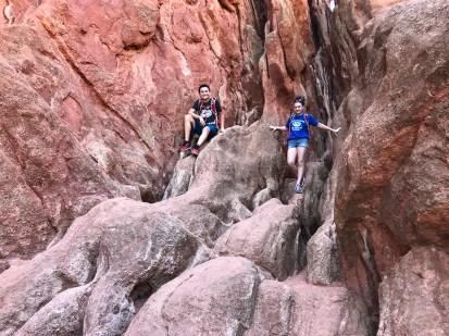 Kids Climbing On Rocks in Colorado Springs Park