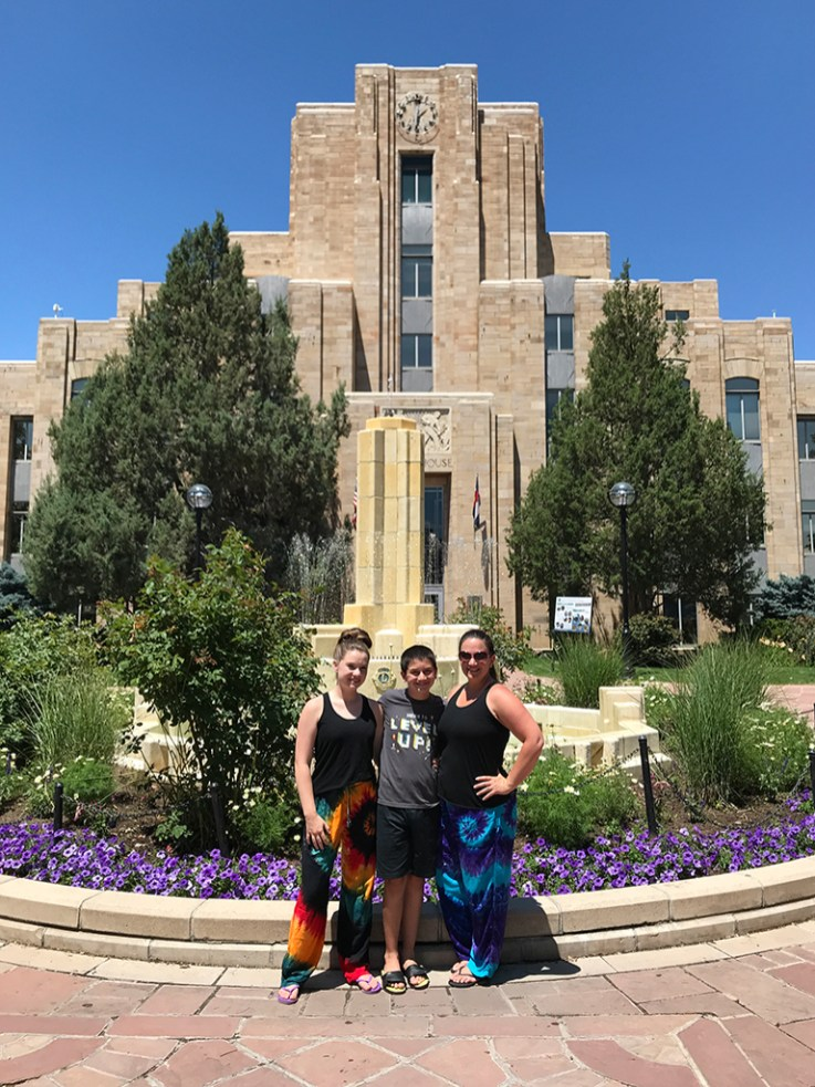 Natalie, Carter, and Jennifer Bourn at the Boulder Courthouse