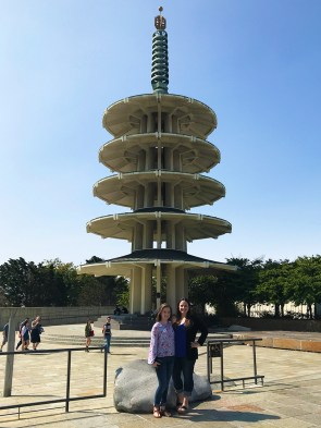 Natalie and Jennifer Bourn in the Japanese Peace Plaza in front of the Peace Pagoda