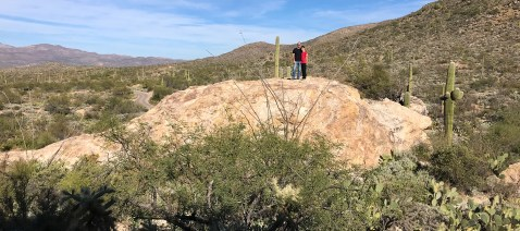 Brian and Carter Bourn at Javelina Rocks Overlook Along Cactus Forest Drive at Saguaro East