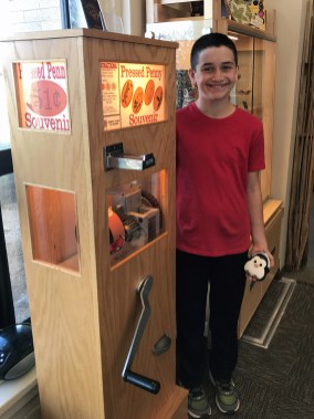 Carter Bourn at the Pressed Penny Machine at Saguaro National Park