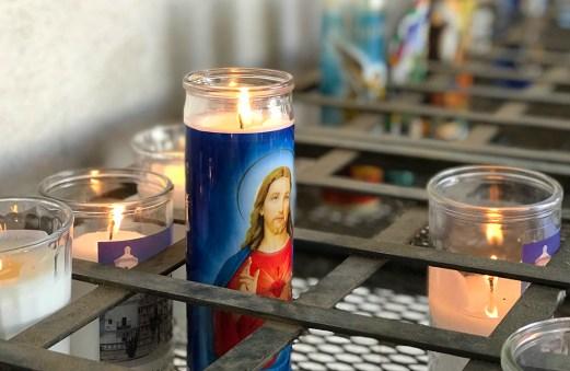 A Lit Prayer Candle