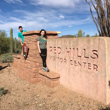 Natalie and Carter Bourn at the Red Hills Visitor Center Sign