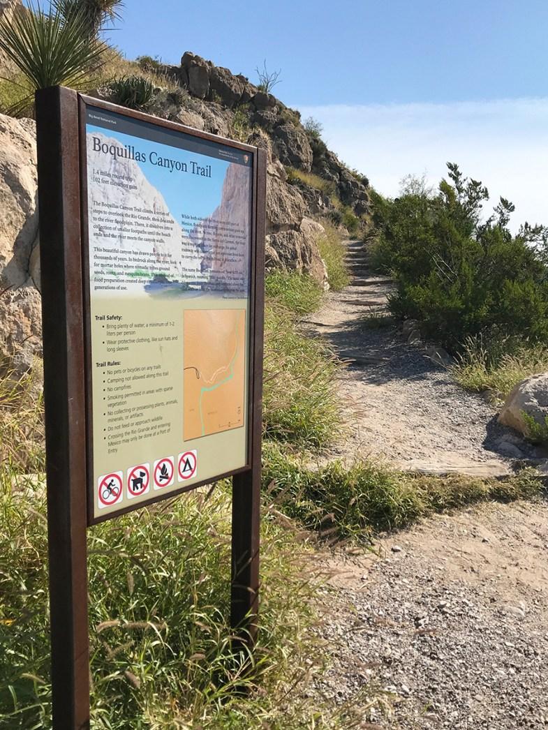 Boquillas Canyon Trailhead Sign