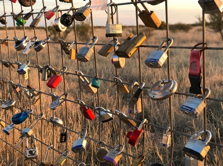 Locks on the fence around Prada Marfa