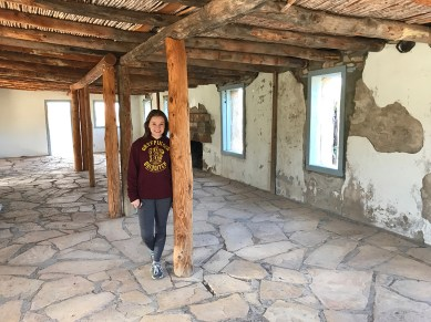 Natalie Bourn inside the Homer Wilson Ranch Foreman's House