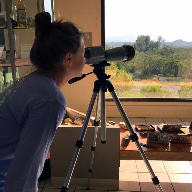 Natalie Bourn Using a Telescope at the Persimmon Gap Visitor Center
