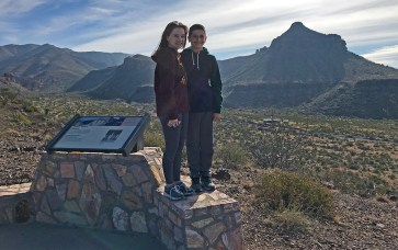 Natalie and Carter Bourn at the Blue Creek Overlook in Big Bend National Park