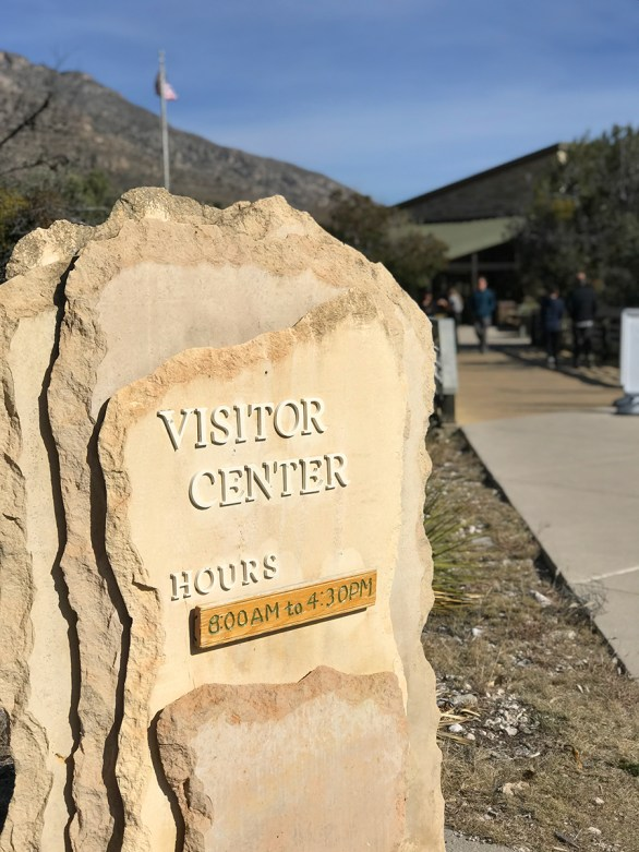 Rock Sign at the Pine Springs Visitor Center at Guadalupe Mountains National Park