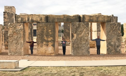 Natalie, Carter, and Brian Bourn at the Stonehenge Replica in Texas