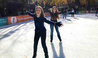 Alaina Roberts and Natalie Bourn at the Downtown Sacramento Ice Rink