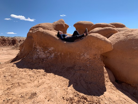 Natalie Bourn Relaxing On a Curved Goblin