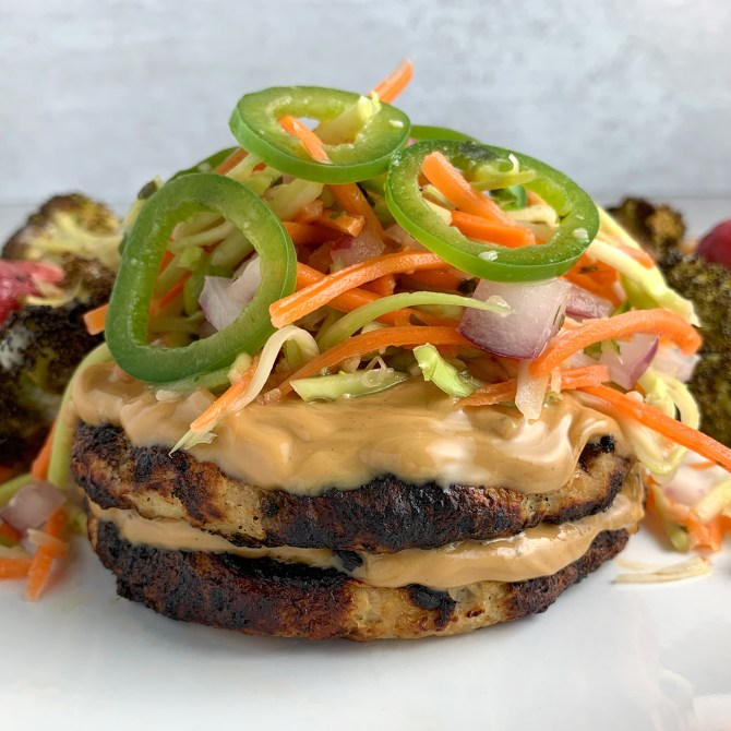 Asian Turkey Burgers With A Jalapeno Broccoli Slaw