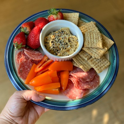 Hummus, Peppers, Crackers, Salami