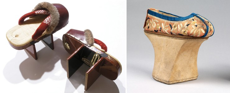 Japanese geta slippers, Right: Chinese pedestal shoes v&a heels